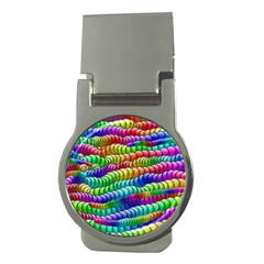 Digitally Created Abstract Rainbow Background Pattern Money Clips (Round)