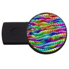 Digitally Created Abstract Rainbow Background Pattern Usb Flash Drive Round (2 Gb)