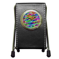 Digitally Created Abstract Rainbow Background Pattern Pen Holder Desk Clocks