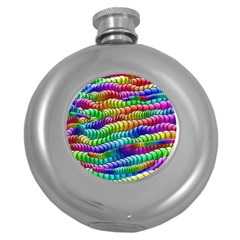 Digitally Created Abstract Rainbow Background Pattern Round Hip Flask (5 Oz)