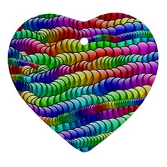 Digitally Created Abstract Rainbow Background Pattern Heart Ornament (Two Sides)