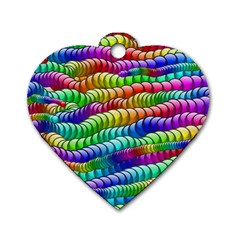 Digitally Created Abstract Rainbow Background Pattern Dog Tag Heart (two Sides)