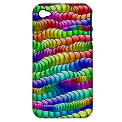Digitally Created Abstract Rainbow Background Pattern Apple iPhone 4/4S Hardshell Case (PC+Silicone)