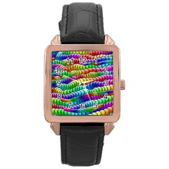 Digitally Created Abstract Rainbow Background Pattern Rose Gold Leather Watch