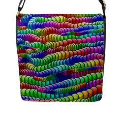 Digitally Created Abstract Rainbow Background Pattern Flap Messenger Bag (L)