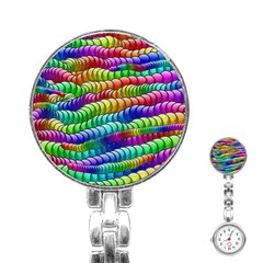 Digitally Created Abstract Rainbow Background Pattern Stainless Steel Nurses Watch