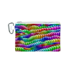 Digitally Created Abstract Rainbow Background Pattern Canvas Cosmetic Bag (S)