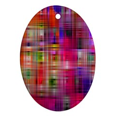 Background Abstract Weave Of Tightly Woven Colors Ornament (Oval)