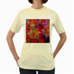 Background Abstract Weave Of Tightly Woven Colors Women s Yellow T Shirt