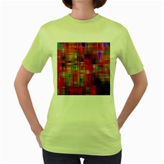 Background Abstract Weave Of Tightly Woven Colors Women s Green T-Shirt