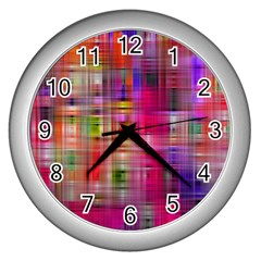Background Abstract Weave Of Tightly Woven Colors Wall Clocks (silver)