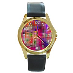 Background Abstract Weave Of Tightly Woven Colors Round Gold Metal Watch