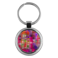 Background Abstract Weave Of Tightly Woven Colors Key Chains (round)