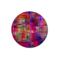 Background Abstract Weave Of Tightly Woven Colors Rubber Coaster (Round)