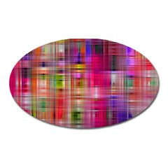 Background Abstract Weave Of Tightly Woven Colors Oval Magnet