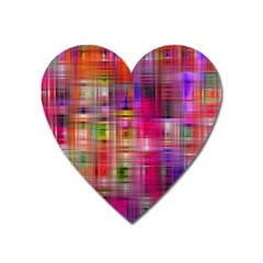 Background Abstract Weave Of Tightly Woven Colors Heart Magnet