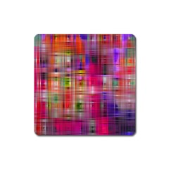 Background Abstract Weave Of Tightly Woven Colors Square Magnet