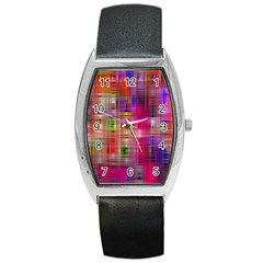 Background Abstract Weave Of Tightly Woven Colors Barrel Style Metal Watch