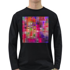 Background Abstract Weave Of Tightly Woven Colors Long Sleeve Dark T-Shirts