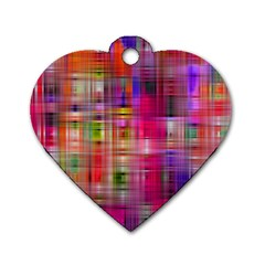 Background Abstract Weave Of Tightly Woven Colors Dog Tag Heart (one Side)