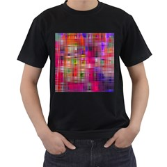 Background Abstract Weave Of Tightly Woven Colors Men s T-Shirt (Black)