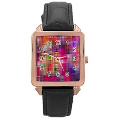 Background Abstract Weave Of Tightly Woven Colors Rose Gold Leather Watch