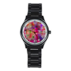 Background Abstract Weave Of Tightly Woven Colors Stainless Steel Round Watch