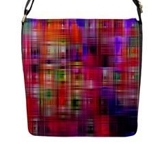 Background Abstract Weave Of Tightly Woven Colors Flap Messenger Bag (l)
