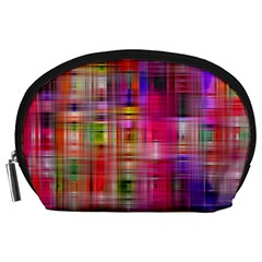 Background Abstract Weave Of Tightly Woven Colors Accessory Pouches (Large)