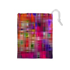 Background Abstract Weave Of Tightly Woven Colors Drawstring Pouches (medium)