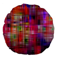 Background Abstract Weave Of Tightly Woven Colors Large 18  Premium Flano Round Cushions