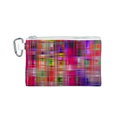 Background Abstract Weave Of Tightly Woven Colors Canvas Cosmetic Bag (S)
