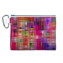Background Abstract Weave Of Tightly Woven Colors Canvas Cosmetic Bag (L)