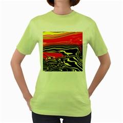 Abstract Clutter Women s Green T Shirt