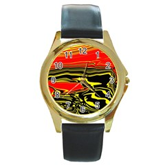 Abstract Clutter Round Gold Metal Watch
