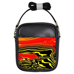 Abstract Clutter Girls Sling Bags