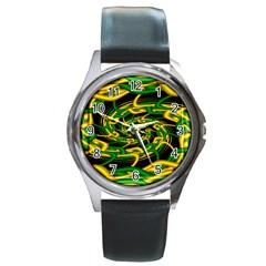 Green Yellow Fractal Vortex In 3d Glass Round Metal Watch