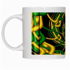 Green Yellow Fractal Vortex In 3d Glass White Mugs