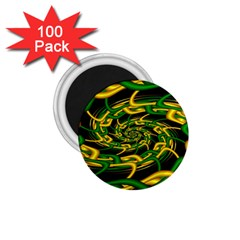 Green Yellow Fractal Vortex In 3d Glass 1 75  Magnets (100 Pack)