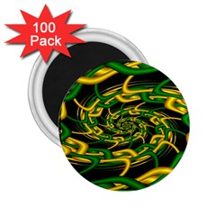 Green Yellow Fractal Vortex In 3d Glass 2 25  Magnets (100 Pack)