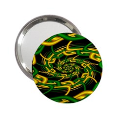 Green Yellow Fractal Vortex In 3d Glass 2.25  Handbag Mirrors