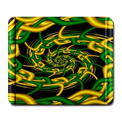 Green Yellow Fractal Vortex In 3d Glass Large Mousepads