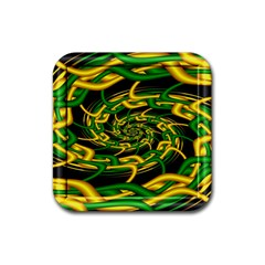 Green Yellow Fractal Vortex In 3d Glass Rubber Coaster (square)