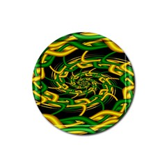 Green Yellow Fractal Vortex In 3d Glass Rubber Coaster (Round)