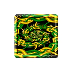 Green Yellow Fractal Vortex In 3d Glass Square Magnet