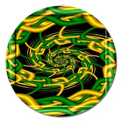 Green Yellow Fractal Vortex In 3d Glass Magnet 5  (Round)