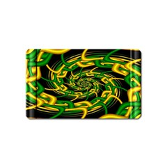 Green Yellow Fractal Vortex In 3d Glass Magnet (name Card)