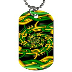 Green Yellow Fractal Vortex In 3d Glass Dog Tag (Two Sides)
