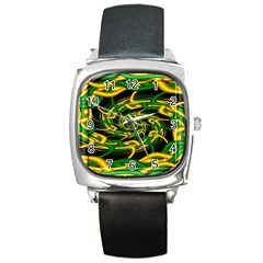 Green Yellow Fractal Vortex In 3d Glass Square Metal Watch