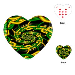 Green Yellow Fractal Vortex In 3d Glass Playing Cards (heart)